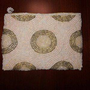 Vintage white and pewter beaded coin purse